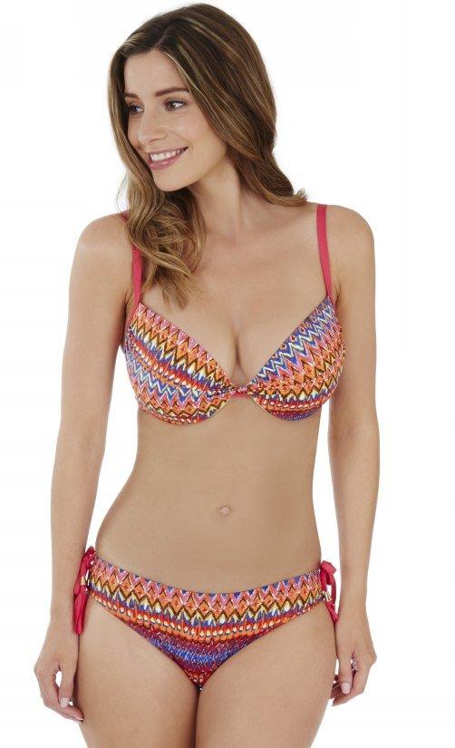 Lepel LE167860 Swimwear Rainbow Beach Twist Plunge Bikini Top in Pink Multi