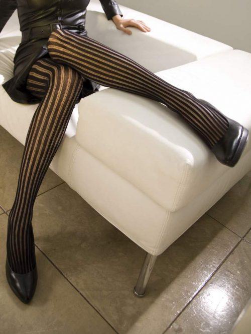 Charnos Fashion Net vertical stripe tights