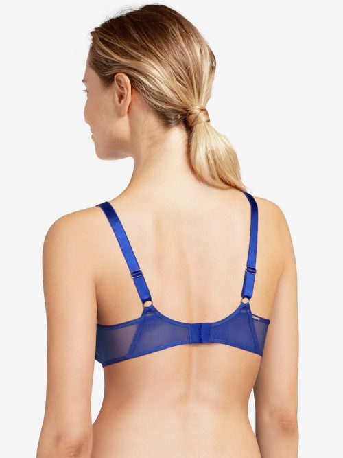 Chantelle Pyramide Underwired Bra (blue, back) at Under Wraps Lingerie